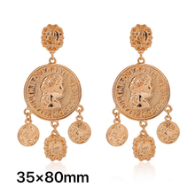 Queen Earrings Baroque Vintage Metal Catwalk-Style Beauty-Head Exaggerated