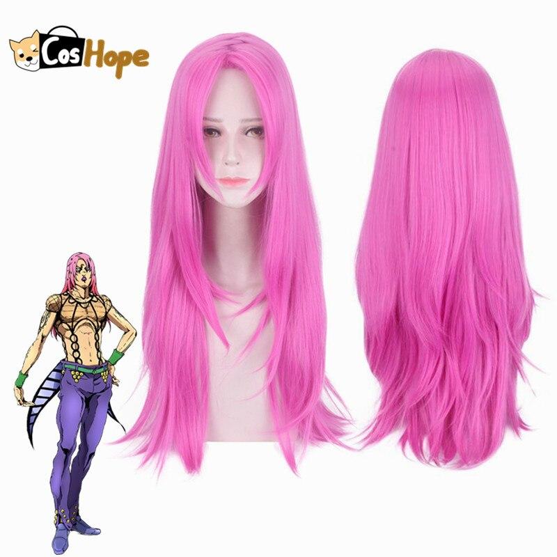 Diavolo Cosplay Wig JoJo Bizarre Adventure Cosplay Heat Resistant Synthetic Wigs Long Rose Red Wigs Party Wig Halloween Cosplay