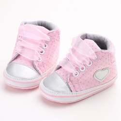 Осенние детские сникеры в горошек с сердечками для новорожденных девочек; классические повседневные туфли для малышей; # E