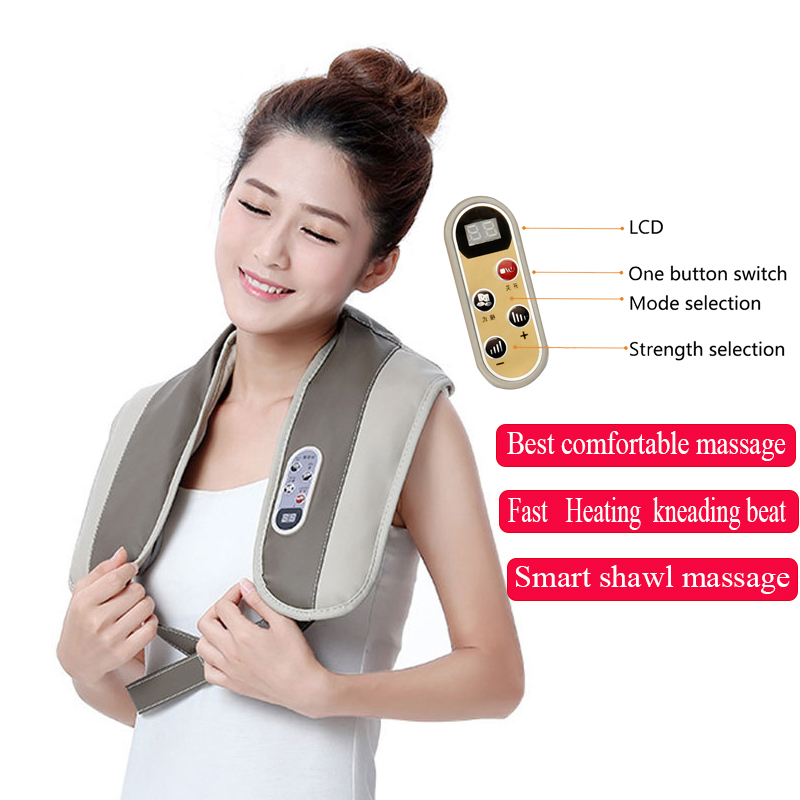 U Form Hause Elektrische Shiatsu Nacken Schulter Körper Massager Multi-funktion Tippen Infrarot Beheizten Kneten Schals Massagem
