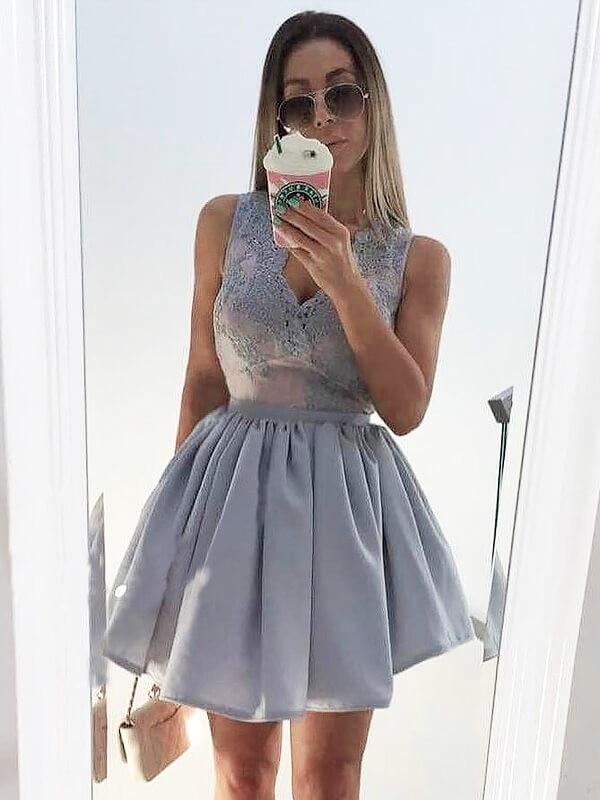 2020 Cocktail Dress A-Line/Princess V-neck Sleeveless Applique Short/Mini Satin Dresses For Party For Party
