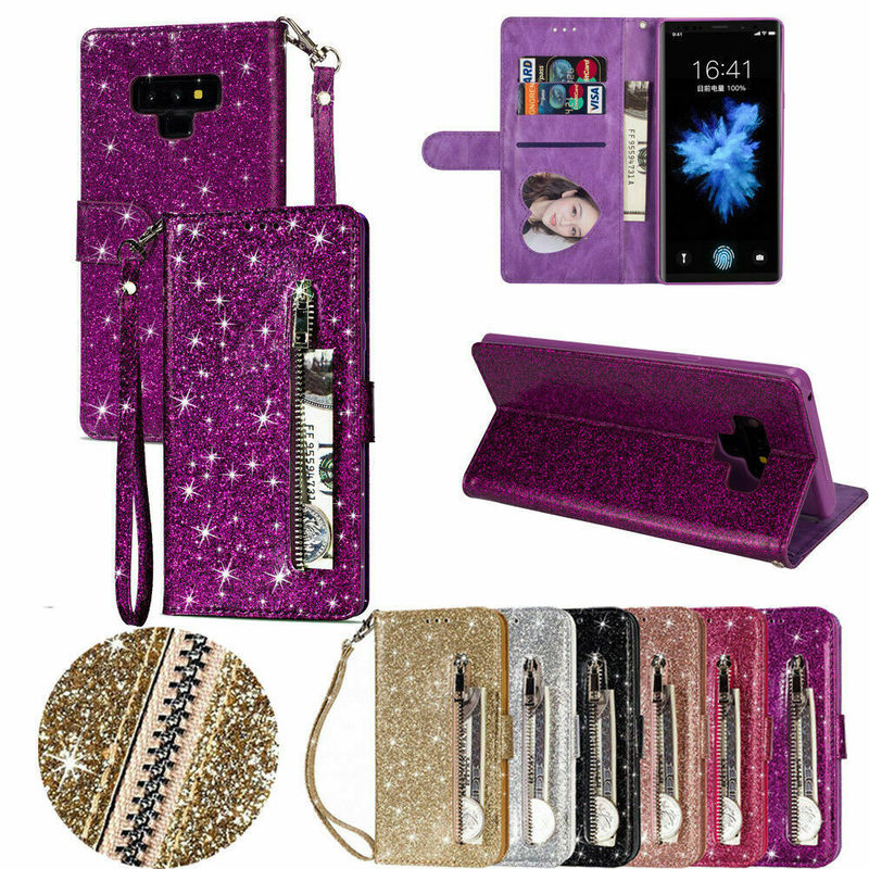Bling <font><b>Case</b></font> For <font><b>Samsung</b></font> <font><b>Galaxy</b></font> <font><b>A70</b></font> A50 A40 A30 A20 A10 A51 A71 M10 Leather <font><b>Flip</b></font> Zipper Wallet Card Stand Holder Phone Cover Coque image