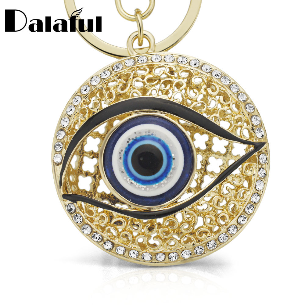 Dalaful Eyes Hollow Out Round Metal Key Chains Rings Crystal Purse Bag Buckle Pendant For Car Keyrings KeyChains K165