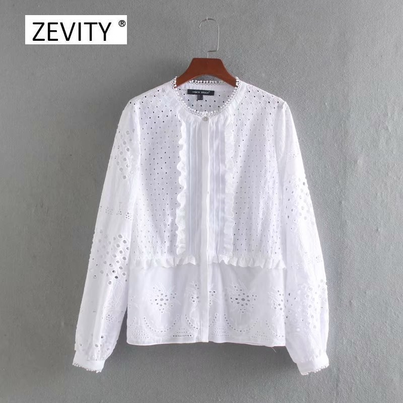 women vintage o neck hollow out embroidery agaric lace ruffle casual smock blouse female long sleeve patchwork shirt tops LS6968