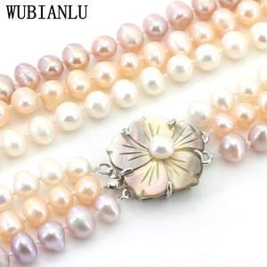 Image 3 - WUBIANLU 3 Reihe 7 8mm Weiß Süßwasser Perle Halskette Kette Blumen Tasten Schmuck Frauen Mädchen Bankett 17  19 InchFashion Charming