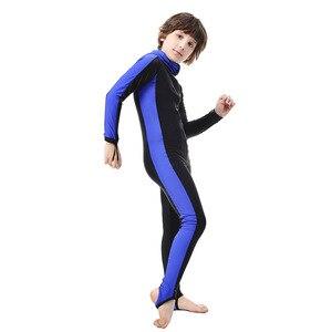 Image 4 - SBART traje de buceo de cuerpo completo para niños, Surf con capucha, esnórquel, natación de manga larga, traje de baño de una pieza para niño y niña, traje de buceo UV H