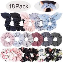 18 PCS Hair Scrunchies Rabbit Bunny Ear Bow Bowknot Scrunchie Chiffon Flower Scrunchy Bobbles Elastic Ties Bands
