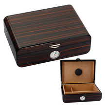 COHIBA Cedar Wood Cigar Case Large Capacity Humidor Box Glossy Accessories With Hygrometer Humidifier