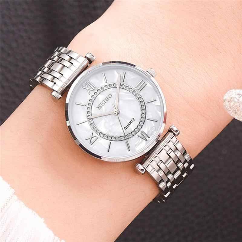 여성 시계 톱 브랜드 럭셔리 2020 패션 다이아몬드 숙녀 손목 시계 스테인레스 스틸 실버 메쉬 스트랩 여성 쿼츠 시계