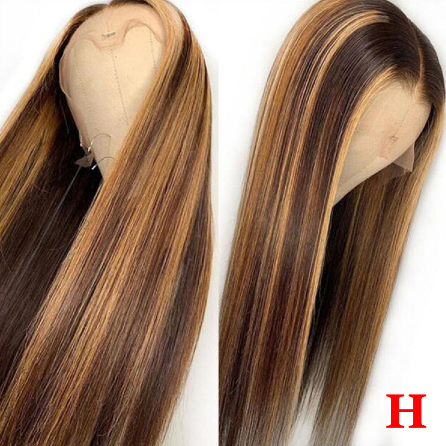 #4/27 Highlight Colored Human Hair Wigs Pre Plucked Lace Front Human Hair Wigs Honey Blonde 360 Lace Frontal Wig Brazilian Remy