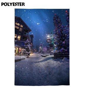 Image 3 - Allenjoy Christmas New Years garlands photography backdrop winter tree night street lamp snowflake path background photophone