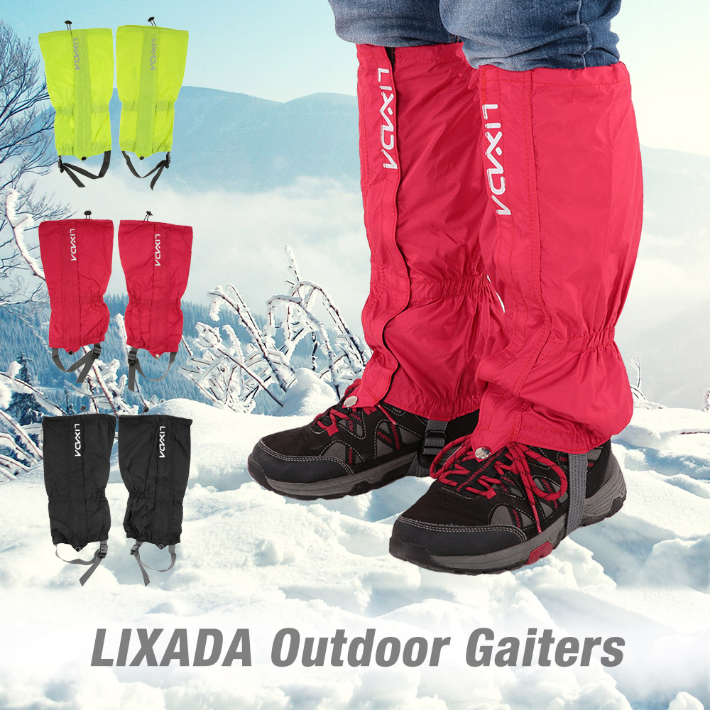 Lixada Waterproof Outdoor Hiking Climbing Gaiters Protective Wrap Shoe Covers Outdoor Unisex Zippered Closure Wear Cloth Gaiters
