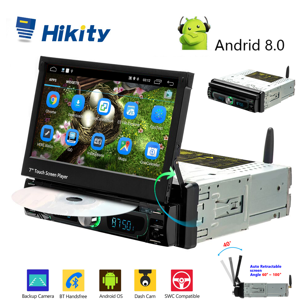Hikity Autoradio 1 din Car Multimedia DVD Player Android GPS 7  Touch Screen Car Radio Mirror Link Support Rear View Camera image