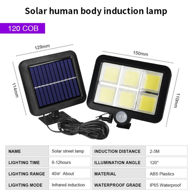 Cob 100120 led solar luz pir sensor