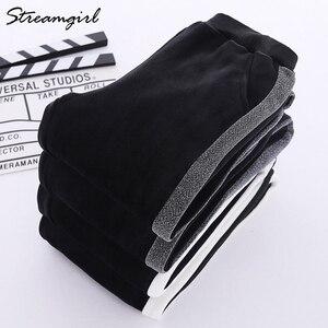 Image 4 - Sweatpants Mulheres Inverno quente Calças Com Listras Para A Mulher Do Lado de Veludo Listrado Harem Pants Calças de Inverno Mulheres Listrado Quente
