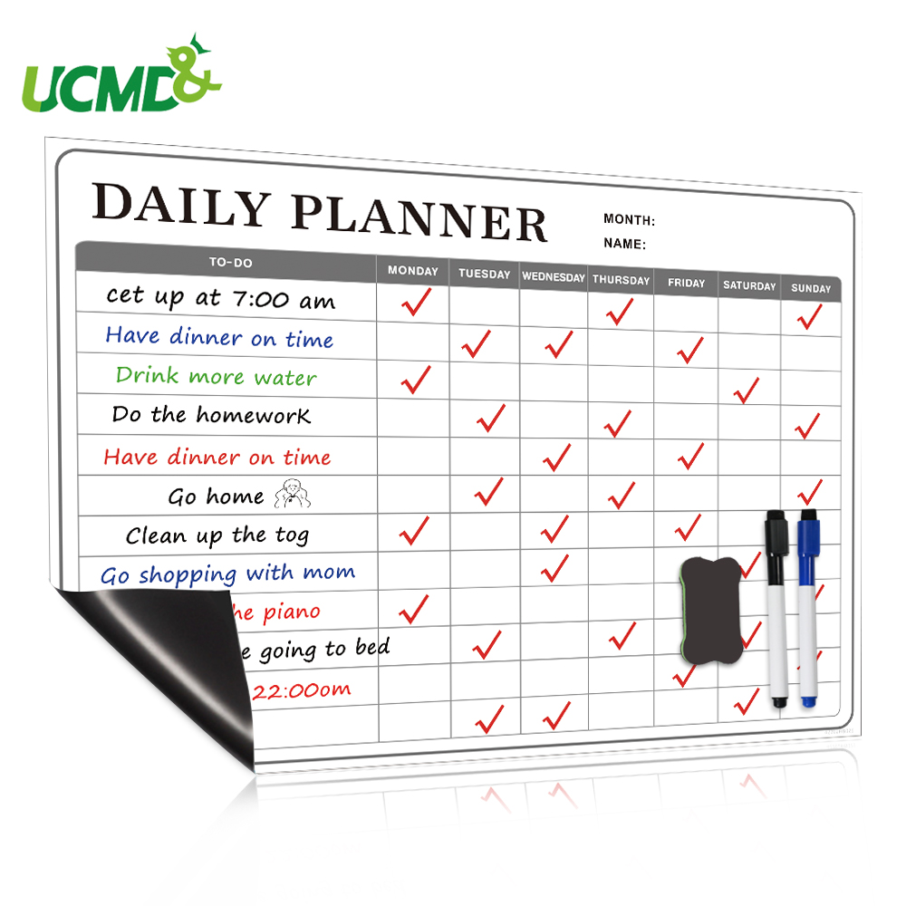 School Magnetic Whiteboard Sticker Dry Erase Calendar Daily Weekly Monthly Planner Writing Board Family Office Message Board