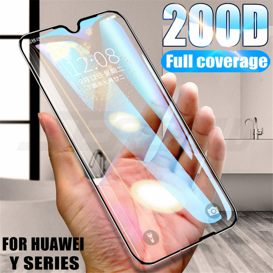200D Protective Tempered Glass For Huawei Y5 Y6 Y7 Y9 Prime 2018 2019 Screen Protector Huawei Y5 Lite Y7S Safety Glass Film Case