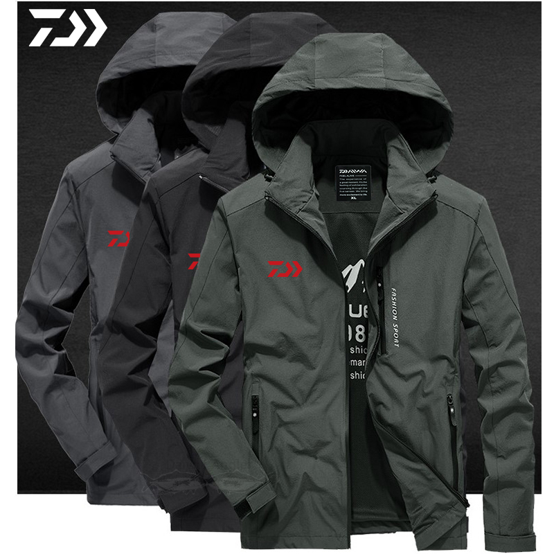 Daiwa Jackets Men Fishing Clothing Autumn Solid Outdoor Fishing Clothes Breathable Fishing Jacket Zipper Hooded Fishing Shirts