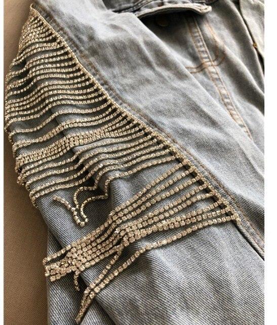 Nueva moda mujer pesada borla de diamantes cadena Blingbling Jeans abrigo High Street Girls agua Drill brillante largo-sleeve Denim Jacket