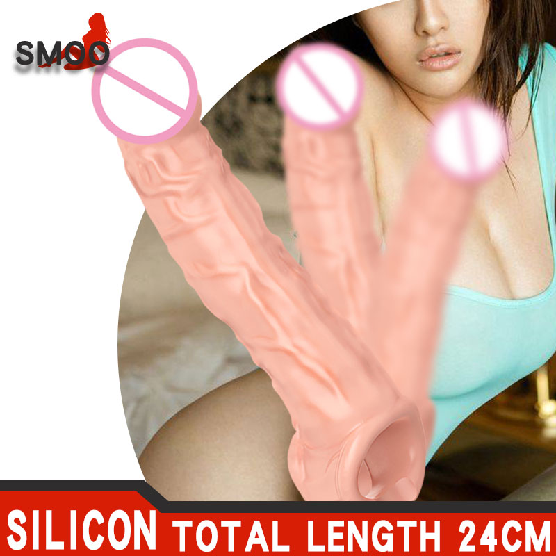 SMOO 24CM Dildo Penis Sleeve Comdom Penis Extender Sleeve Reusable Condoms Rubber Dick Male Cock Extender Dildo Enhancer for Men