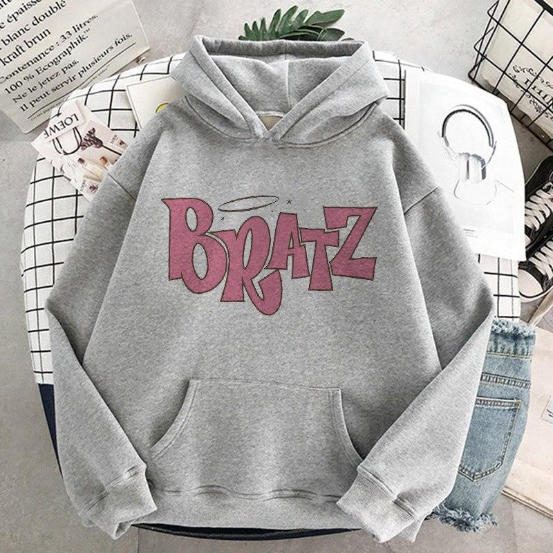 Women Casual Hooded Sweatshirt Bratz letter sweatshirt Harajuku Kawaii cute hoodie Long Sleeve Sweatshirt Autumn streetwear худи 11