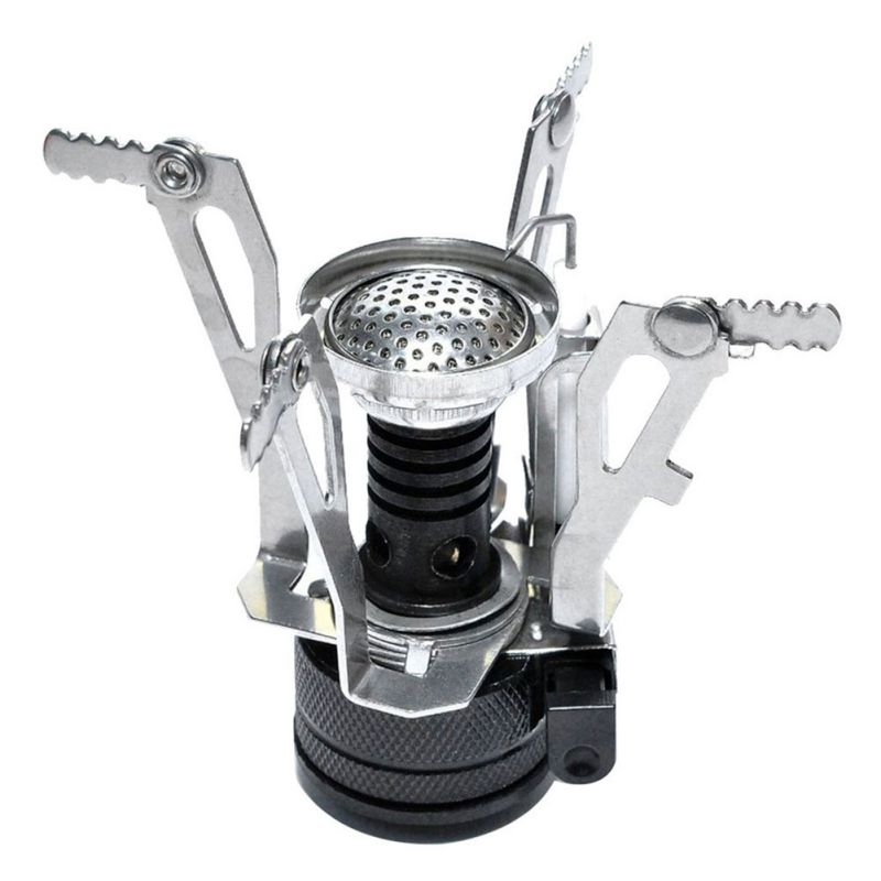 Outdoor Hiking Camping Portable Picnic Burn Foldable Mini Steel Gas Stove Head With Case New image