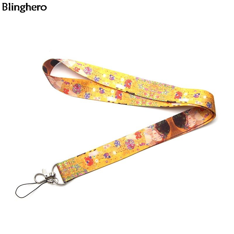 Blinghero Funny Painting Lanyard Strap For Keys Cool Phone Neck Strap ID Badge Holder Flower Hang Rope Gifts ZC0227