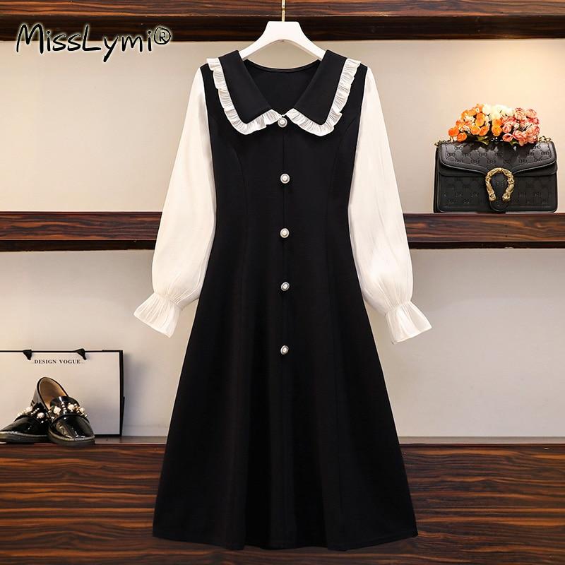 5XL Plus Size Women Korean Casual Dresses Spring 2021 Cute Ruffle Peter Pan Collar White Long Sleeve Patchwork Black Midi Dress