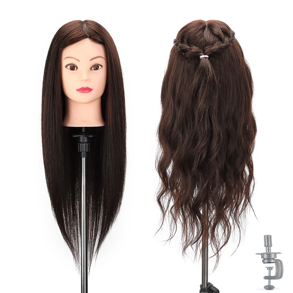 Female Training Head Hairdressing Practice Head 50% Real Animal Hair Head Doll Salon Training Mannequin Hairstyle Modle + Clamp