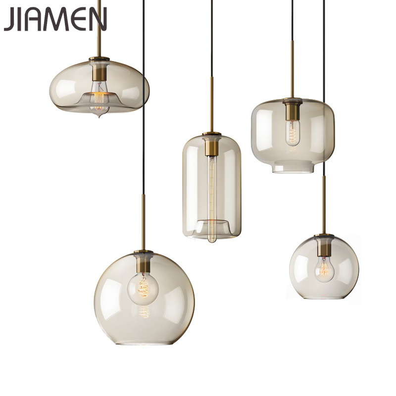 JIAMEN Modern Led E27 Bulb <font><b>Pendant</b></font> <font><b>Lights</b></font> Glass Hanging Lamp for Home Bedroom Living Room Kitchen Decoration Simple Fixtures image