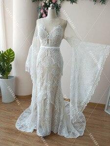 Image 5 - Robe De mariée en dentelle transparente, robe De mariée transparente, Style Hippie, manches longues, modèle symphonique, DW227
