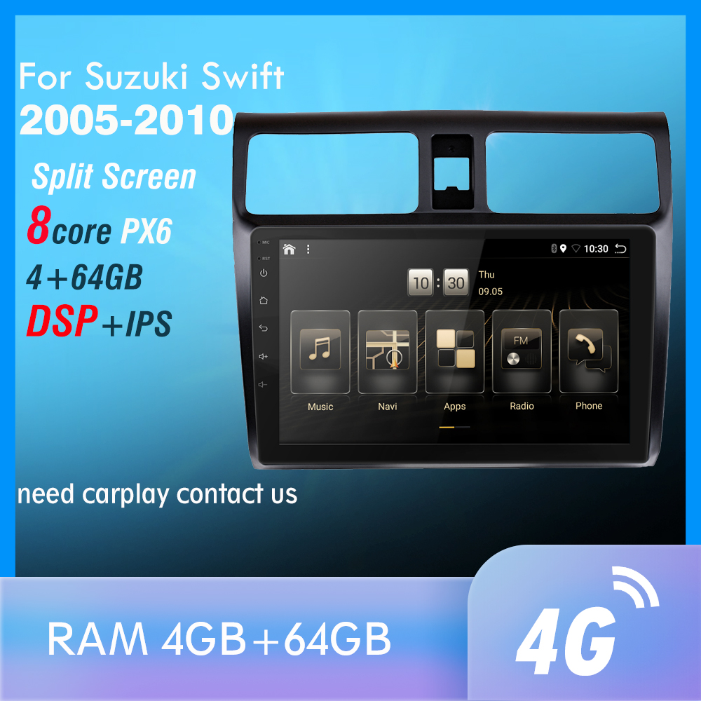 4G+64GB PX6 Car DVD Multimedia Player For <font><b>2005</b></font> 2006 2007 2008 2009 2010 <font><b>Suzuki</b></font> <font><b>Swift</b></font> 2din Android 9.0 Radio Auto Navigation GPS image