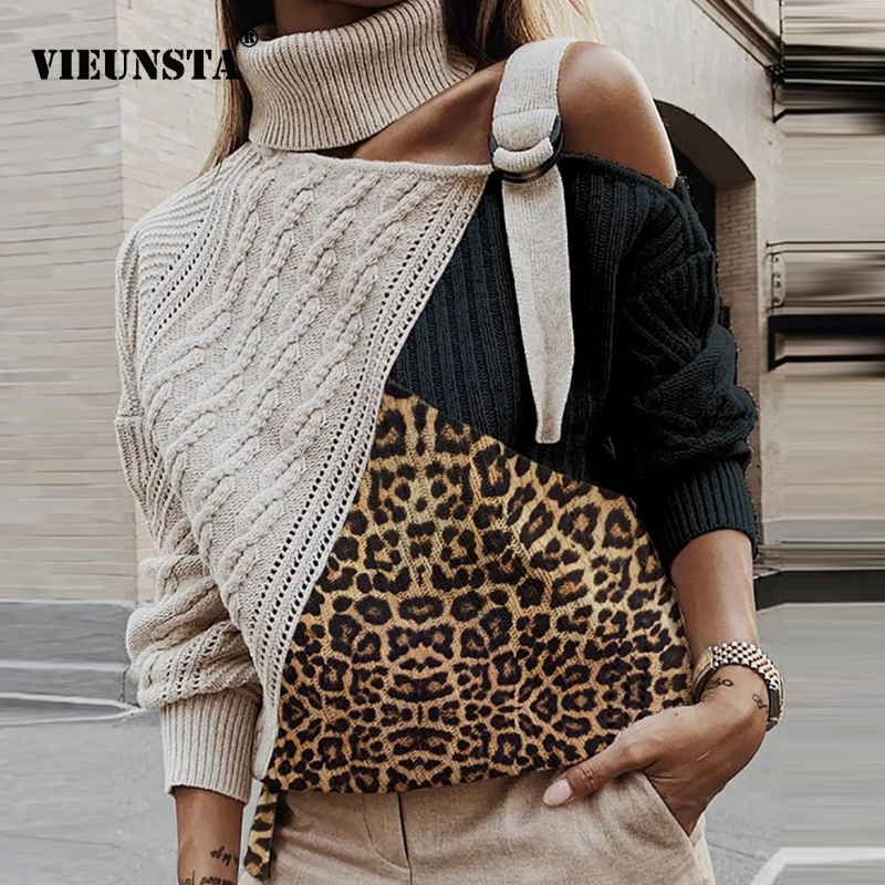 Leopard Patchwork Knitted Sweater Women Off Shoulder Turtleneck Warm Autumn Sweaters Pullover Winter Long Sleeve Stripe Rib Tops