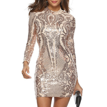 Women Long Sleeve Sequin Dress Elegant Sexy Night Club Celebrity Glitter Party Dress Autumn Winter Silver Sparkly Bodycon Dress newasia garden sexy bodycon dress satin women club party dress glitter pink sequin dress mini dresses woman party night vestidos