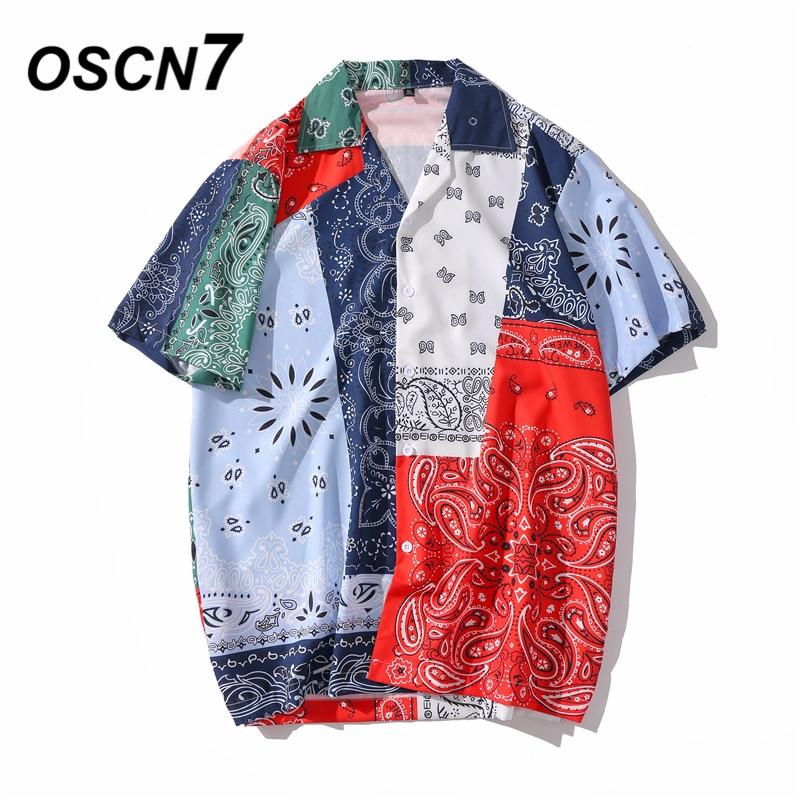 OSCN7 Casual Printed Short Sleeve Shirt Men Street 2020 Hawaii Beach Oversize Women Fashion Harujuku Shirts For Men XQ65