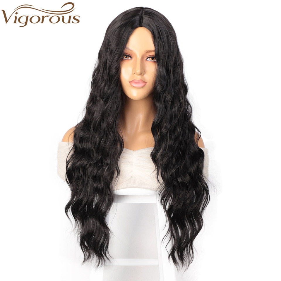 Vigorous Long Wavy Black Wigs Brown And Red Wave Synthetic Wig For Women Natural Middle Part Heat Resistant Hair