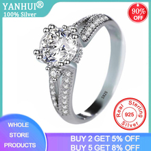 YANHUI Solid 925 Sterling Silver Halo Ring Engagement Wedding Band for Women Zironia Finger Gifts Classic Personalized R074 ainuoshi trendy 925 sterling silver women wedding engagement ring halo 0 5ct emeralded cut ring aniversary gifts anillo de plata