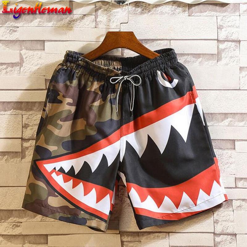 Men Summer Patchwork Shorts 2019 Mens Streetwear Hip Hop Shorts Casual Shark Polyester Colorful Sweat Shorts Big Size 5XL