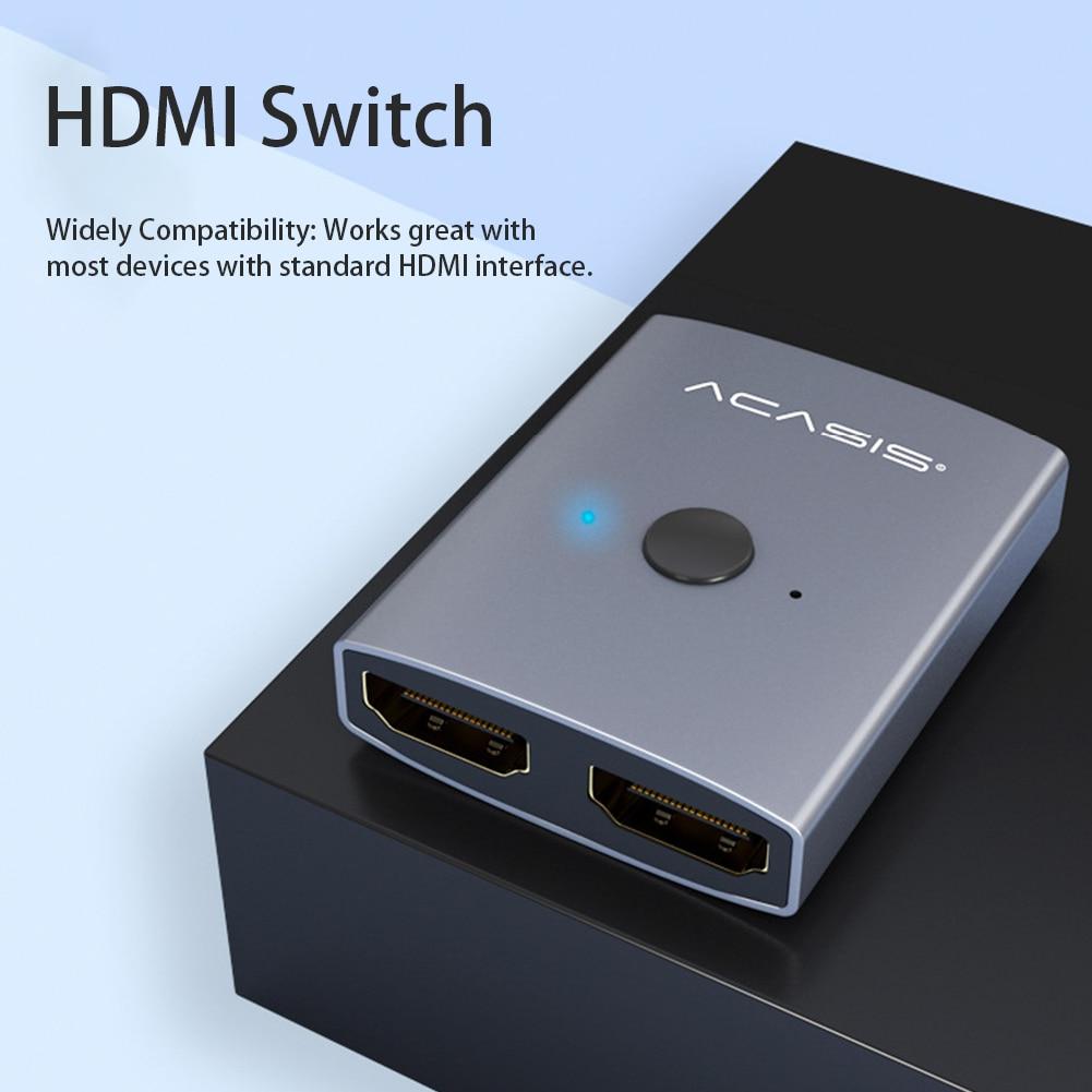 HDMI Switch 1x2 Input Output Hub Bi Direction Plug And Play DVD HDTV Home Office HDCP 3D 4K HD Splitter 1080P Manual Laptop