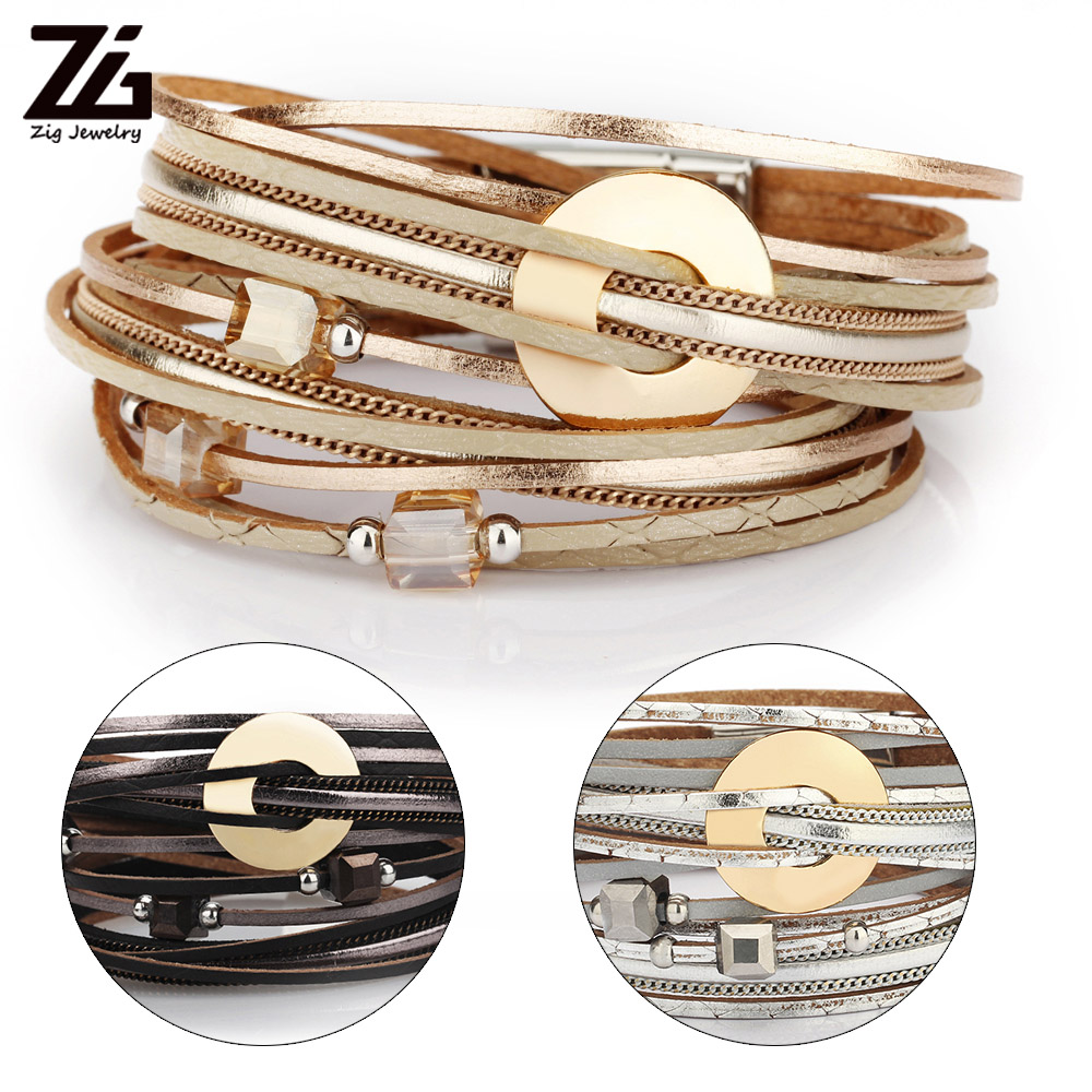 Senhoras multicamadas pulseira de moda de couro feminino pulso largura de banda rolo pulseira 2020 bijuterias femininas