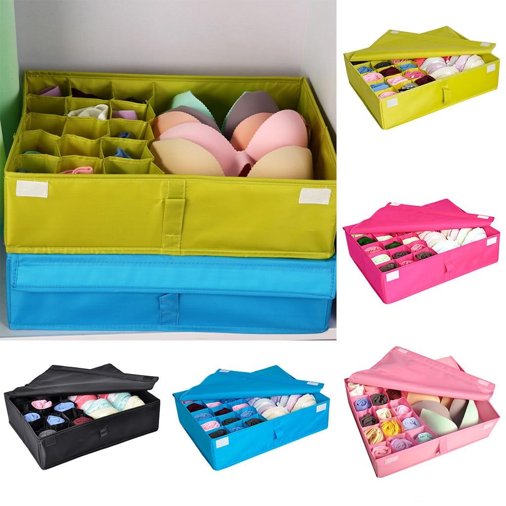 Underwear Storage Box Cloth Bra Socks Covered Items Bag Drawer Closet Organizers Multi-size Bra Underwear Organizer Foldable
