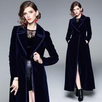 Новинка 2019, зимнее дизайнерское женское винтажное пальто с зазубренным воротником, черное вельветовое длинное пальто, плотное теплое длинн...