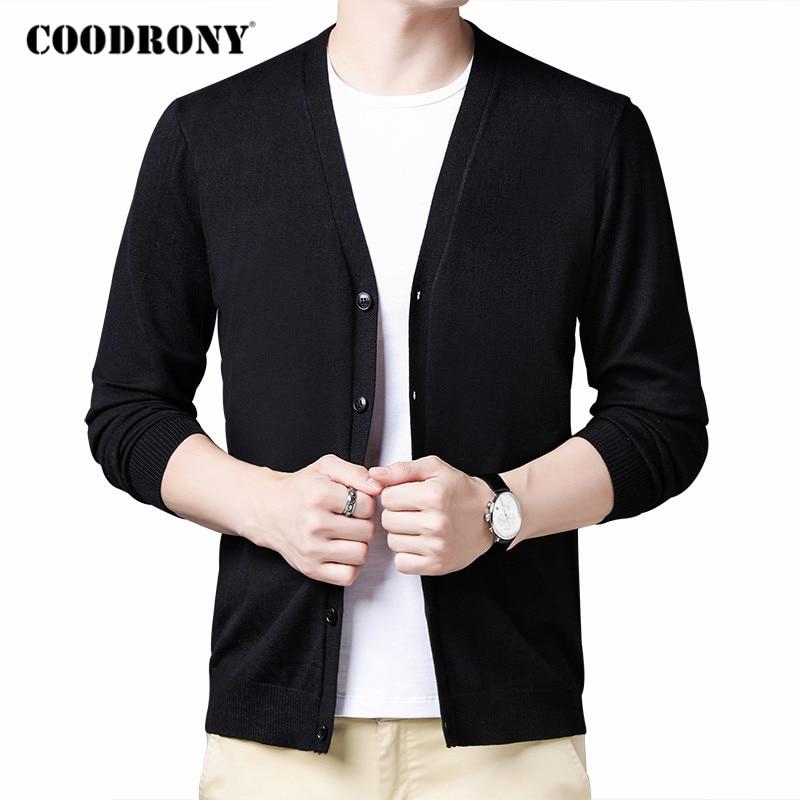 COODRONY Brand Sweater Men Clothing 2020 Autumn Winter Cardigan Men Soft Warm Cotton Wool Cardigans Pure Color V-Neck Coat C1153