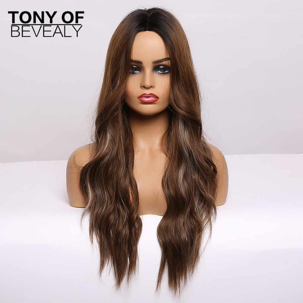 Perruques synthétiques ondulées longue eau Ombre brun partie moyenne perruques de cheveux naturels pour les femmes perruques Cosplay fibre résistante à la chaleur