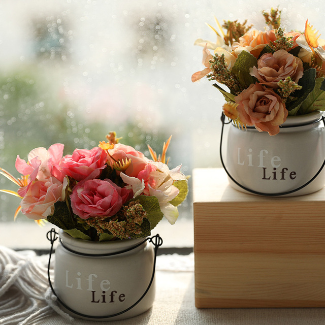 Yumai ורוד אדמונית משי פרח קטן בעציץ מלאכותי בונסאי סימולציה פרחים עם סיר לבית שולחן ירי אבזרי קישוט