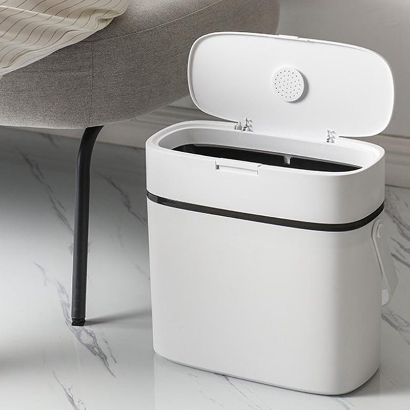 Multifonction 12L poignée Type étroit poubelle toilette poubelle poubelle corbeille panier poubelle seau brosse salle de bain nettoyage