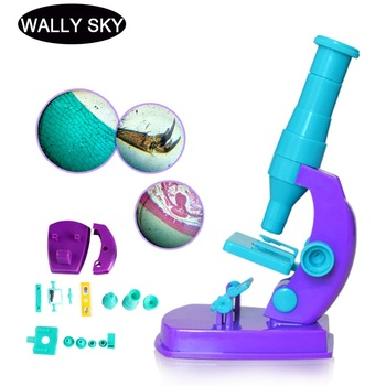 Kids Microscope 150X Children Educational Microscope Plastic Home Science DIY Microscope Early Learning For Beginners Child Gift microscope nosepiece dust cover standard threaded cap lens microscope objective