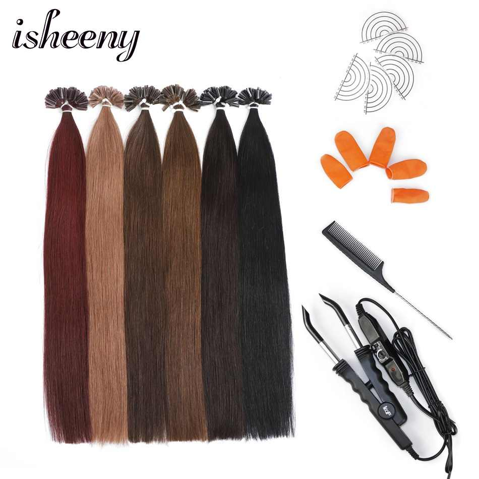 """Isheeny 12""""-22"""" Nail Tip Remy Human Hair Extension Kits 50 Strands Fusion Hair Extension With Loof 618 Connector Hair Protectors"""