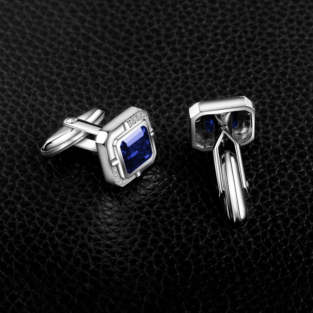 Jewelrypalace Men's Created Sapphire Anniversary Engagement Wedding Cufflinks  925 Sterling Silver-2