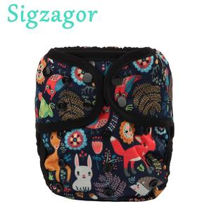 [Sigzagor]1 OS One Size Baby Cloth Diaper Cover Nappy Waterproof Double Gusset 4-13kg 40 Design(China)